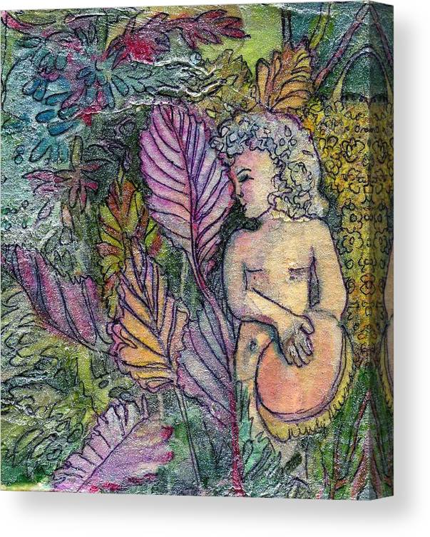 Child Canvas Print featuring the painting Garden Muse by Mindy Newman