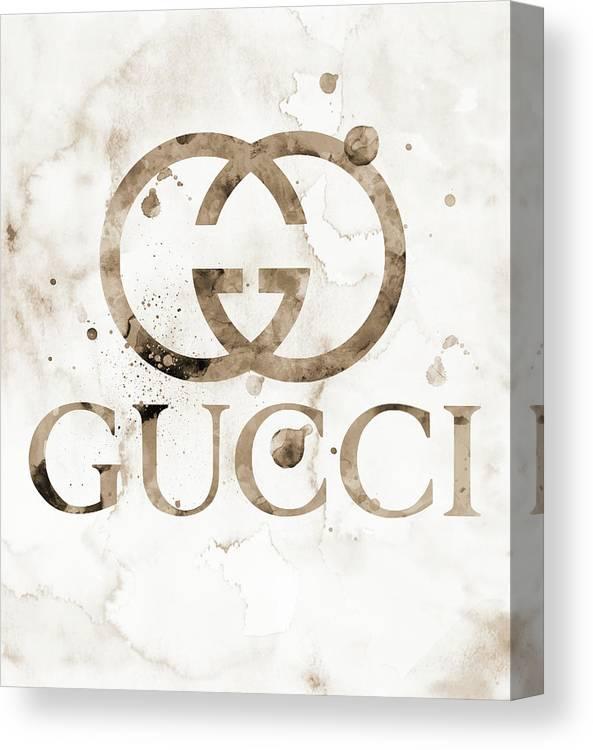 7ee9de6924df Gucci Canvas Print featuring the digital art Gucci Logo Beige 1 Watercolor  6 by Del Art