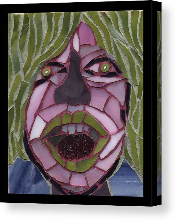 Mosaic Canvas Print featuring the painting Kiwi - Fantasy Face No. 10 by Gila Rayberg