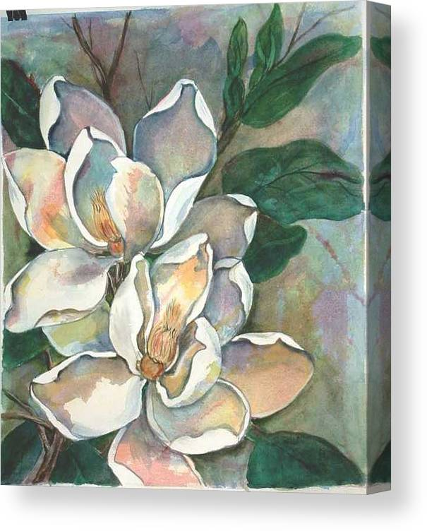 Watercolor Canvas Print featuring the painting Magnolia Four by Diane Ziemski