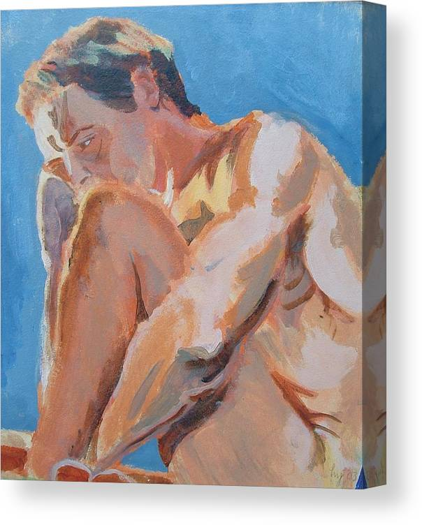 Male Nude Canvas Print featuring the painting Male Nude Painting by Mike Jory