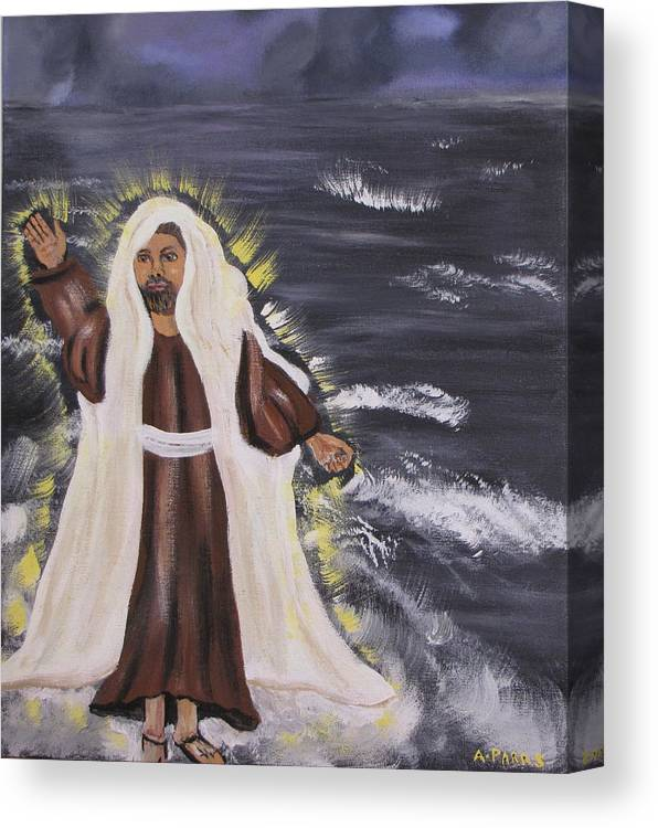 Miracle Canvas Print featuring the painting Miracle On The Water by Aleta Parks