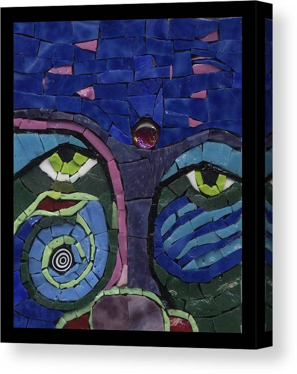 Mosaic Canvas Print featuring the painting Moon Child - Fantasy Face No. 7 by Gila Rayberg