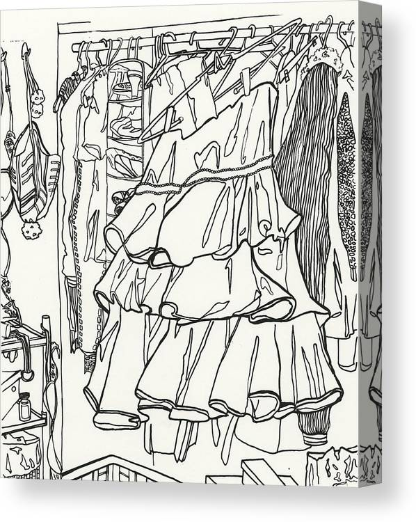 Dress Canvas Print featuring the drawing Party Dress In Closet by Kayla Race