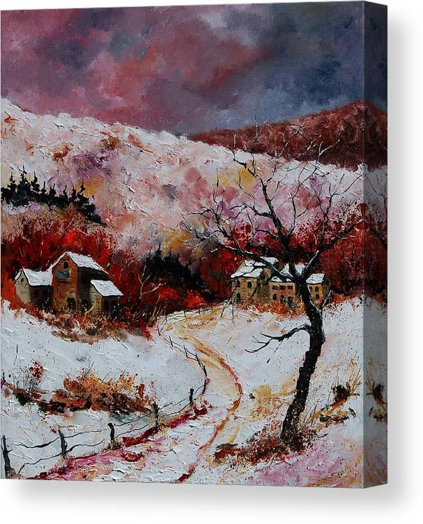 Snow Canvas Print featuring the painting Snow In The Ardennes 78 by Pol Ledent