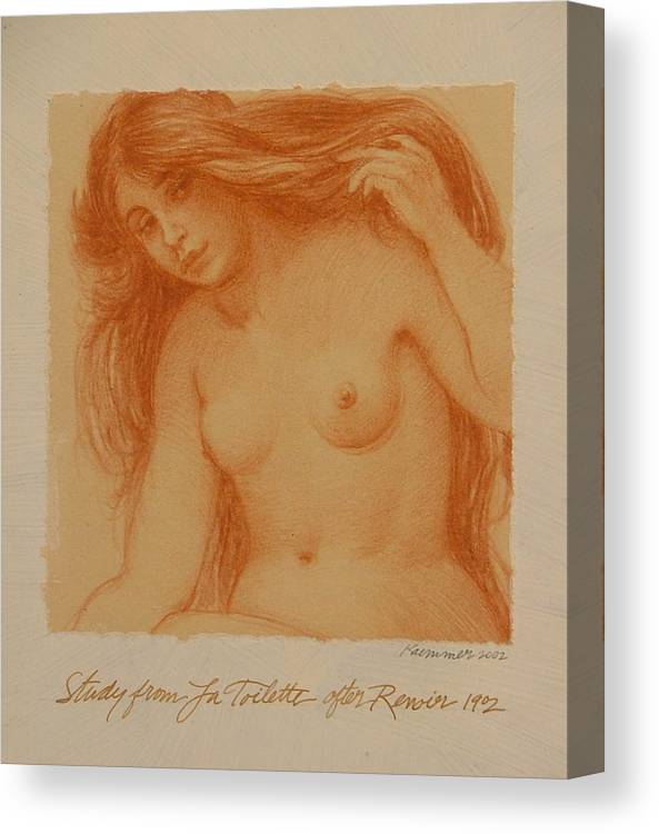 Female Canvas Print featuring the painting Study From La Toilette After Renoir by Gary Kaemmer
