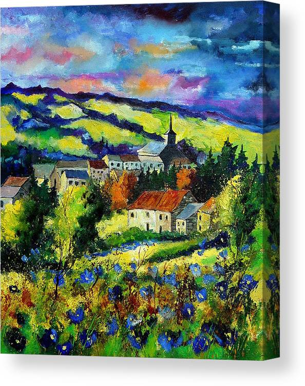 Landscape Canvas Print featuring the painting Village And Blue Poppies by Pol Ledent