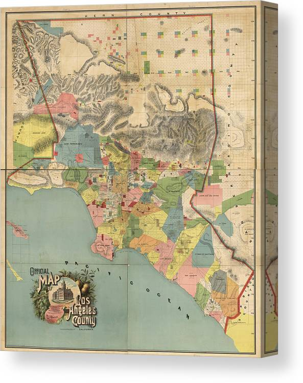 image relating to Printable Map of Los Angeles known as Basic Map Of Los Angeles County Ca - 1888 Canvas Print