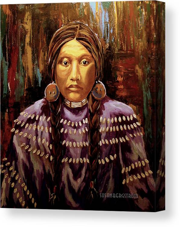 Native American Canvas Print featuring the painting Waiting To Dance by Susan Bergstrom