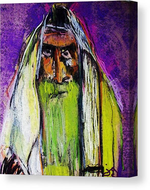 Rabbi Canvas Print featuring the mixed media Yakov by Joyce Goldin