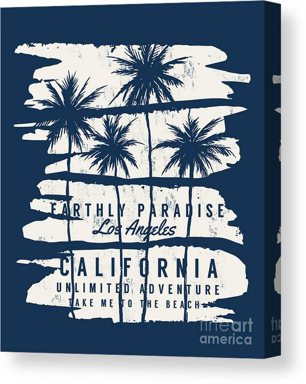 College Canvas Print featuring the digital art Los Angeles, California Typography For by Kano07