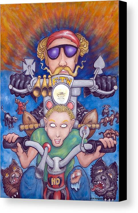 Tricycle Canvas Print featuring the painting Born To Ride by Eddie Sargent