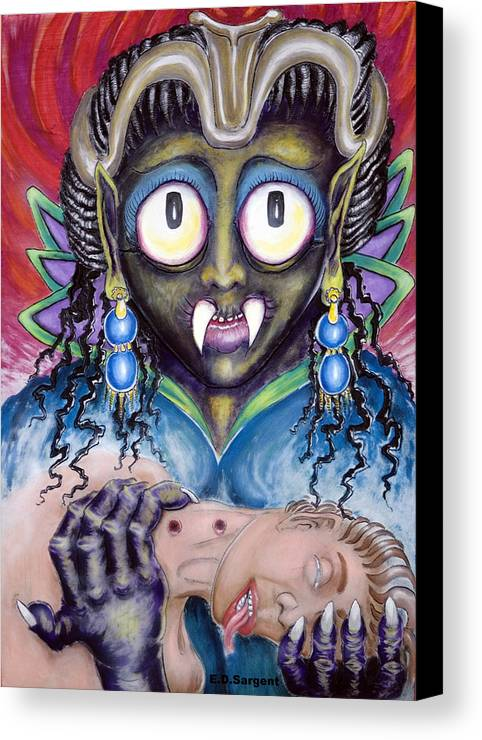 Vamp Canvas Print featuring the painting Pain N Neck by Eddie Sargent