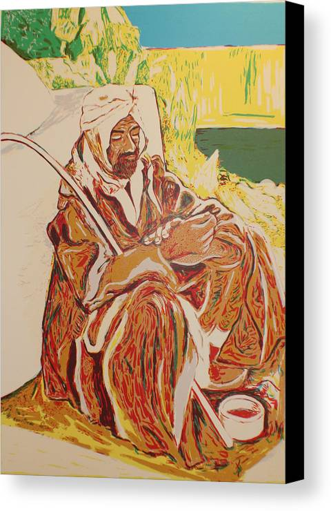 Canvas Print featuring the painting Prayer At Benghazi by Biagio Civale