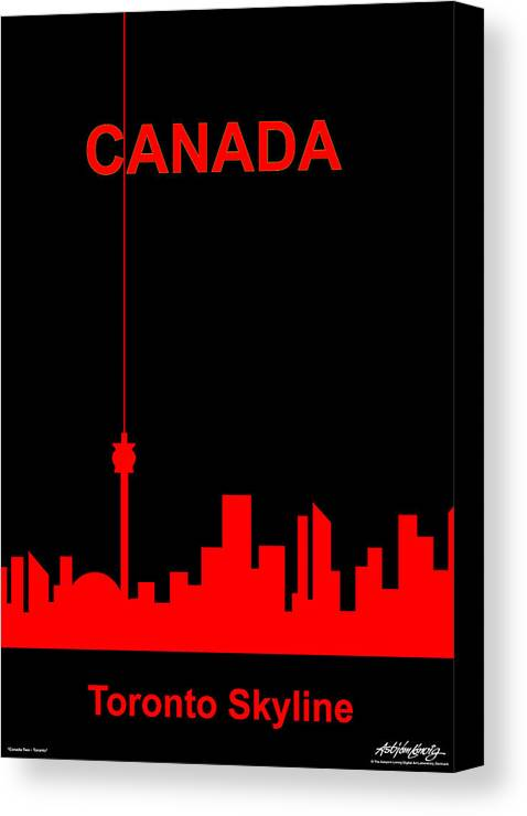Canada Canvas Print featuring the digital art Toronto Skyline by Asbjorn Lonvig
