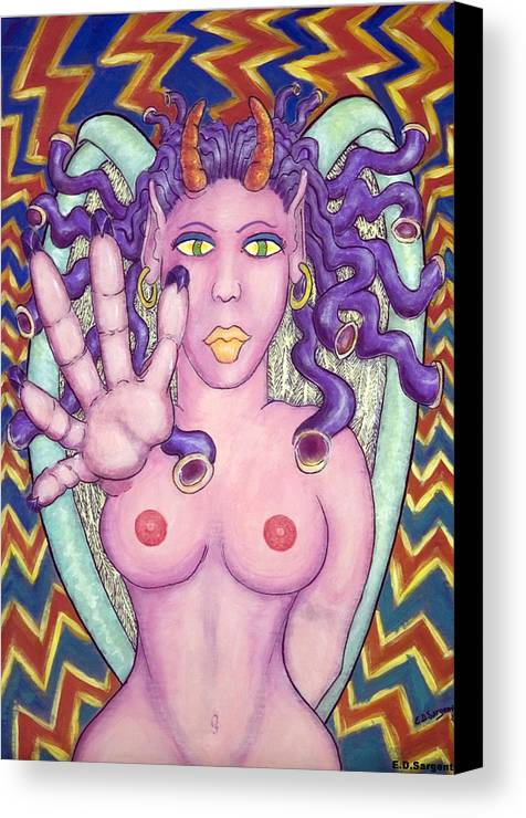 Devilish Canvas Print featuring the painting Touch You by Eddie Sargent