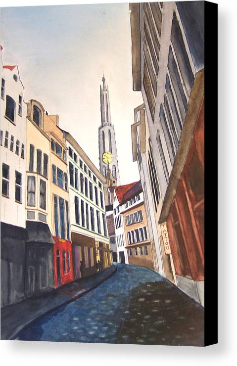 Amstradam Canvas Print featuring the painting Amstradam by Robert Thomaston
