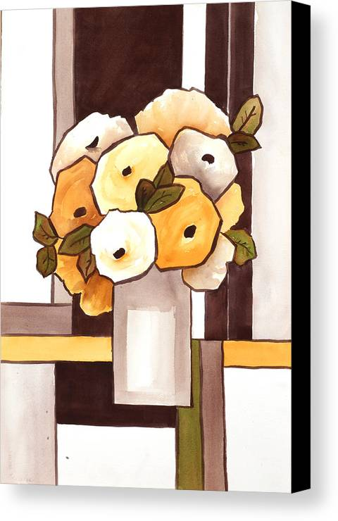 Painting Canvas Print featuring the painting Beige And Brown Funny Flowers by Carrie Allbritton