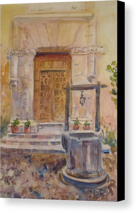 Doorway Canvas Print featuring the painting Chris Coloh House Well by Joyce Kanyuk