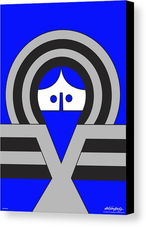 Christ Blue Canvas Print featuring the digital art Christ Blue by Asbjorn Lonvig