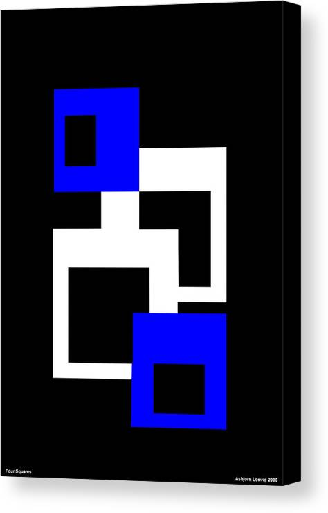 Four Squares Canvas Print featuring the digital art Four Squares by Asbjorn Lonvig