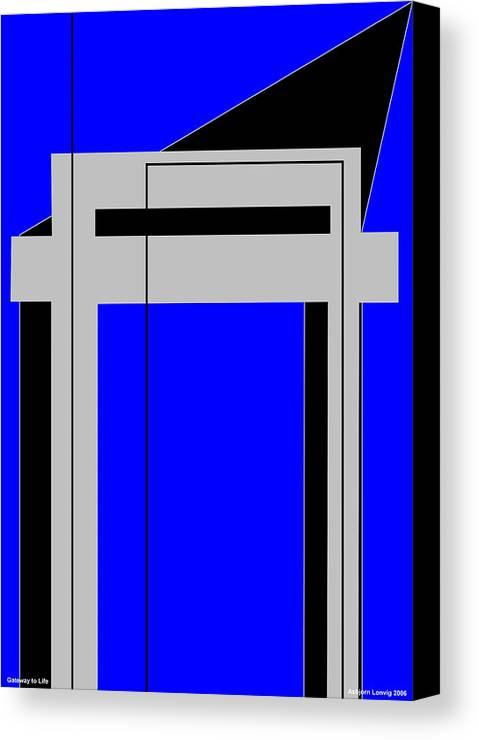 Gateway To Life Canvas Print featuring the digital art Gateway To Life - Blue by Asbjorn Lonvig
