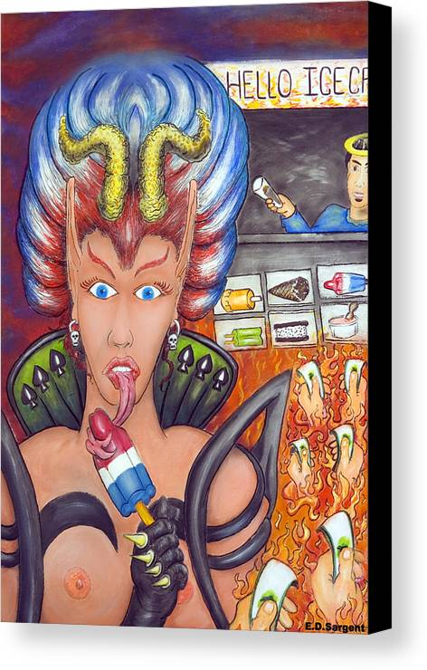 Devilish Canvas Print featuring the painting Hello Ice Cream by Eddie Sargent