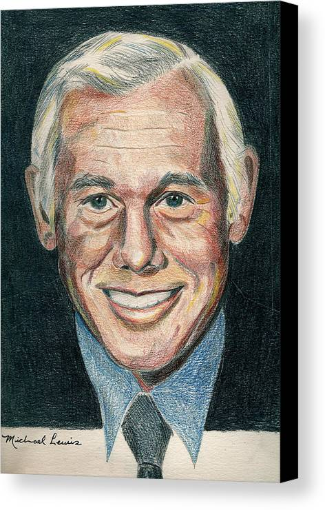 Portraiture Canvas Print featuring the drawing Johnny Carson by Michael Lewis