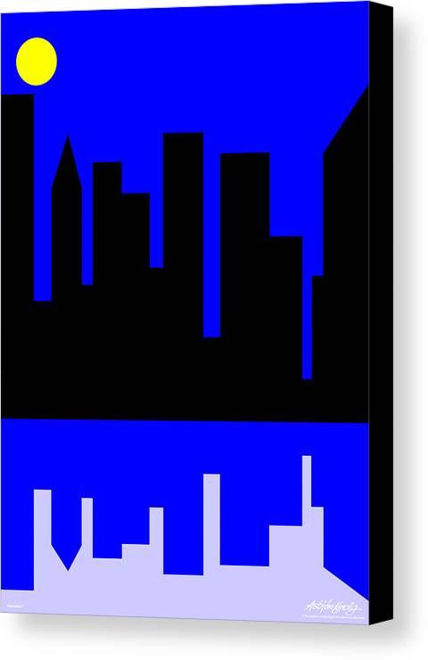 Manhattan Canvas Print featuring the digital art Manhattan by Asbjorn Lonvig