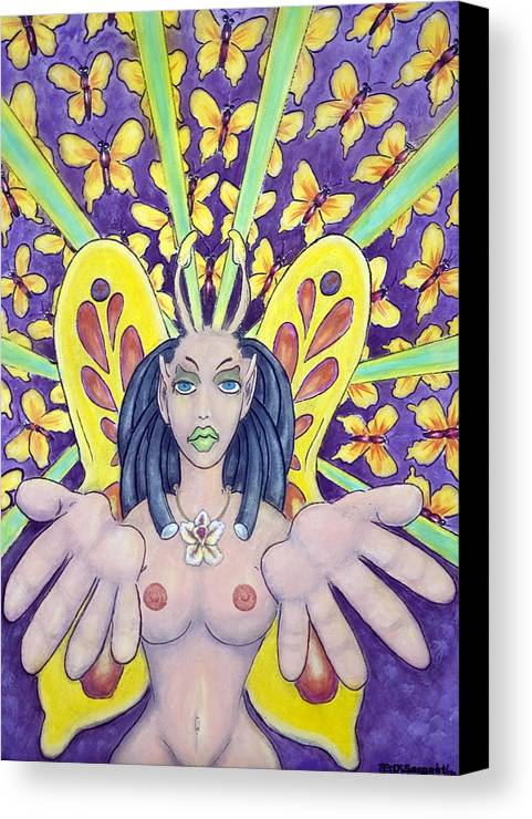 Nude Canvas Print featuring the painting Radiant Butterflies by Eddie Sargent