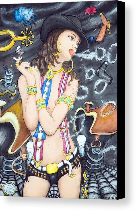 Cowgirl Canvas Print featuring the painting smoke N O's by Eddie Sargent