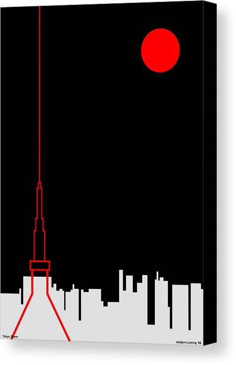 Canvas Print featuring the digital art Tokyo Tower by Asbjorn Lonvig