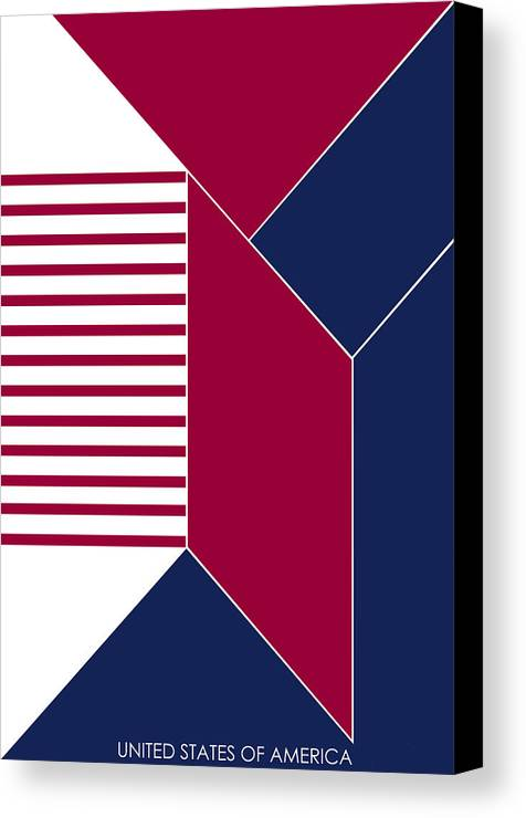 United States Canvas Print featuring the digital art United States Of America IIi - Text by Asbjorn Lonvig