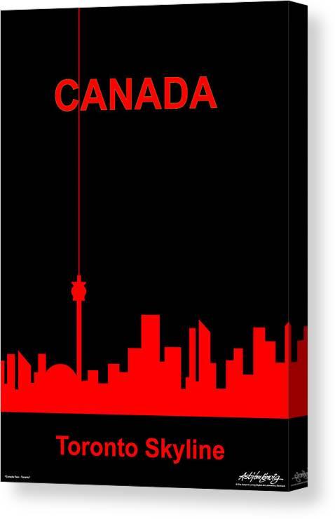 Canada Canvas Print featuring the digital art Toronto Skyline by Asbjorn Lonvig