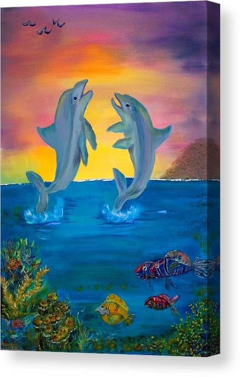 Original Canvas Print featuring the painting Fantasy Dolphins by Mikki Alhart