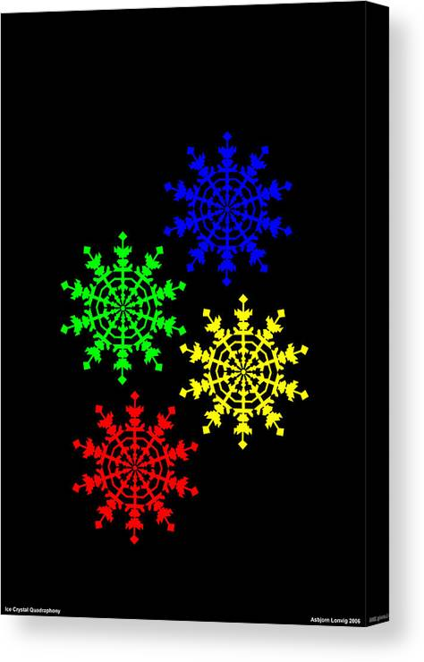 Ice Crystal Canvas Print featuring the digital art Ice Crystal by Asbjorn Lonvig