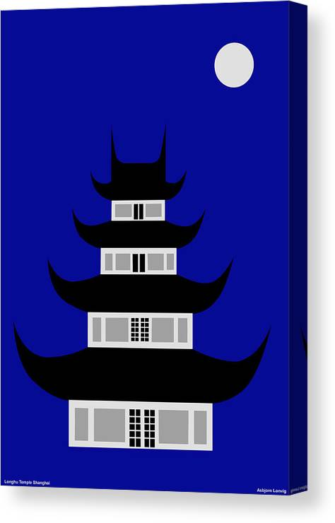 Canvas Print featuring the digital art Longhua by Asbjorn Lonvig