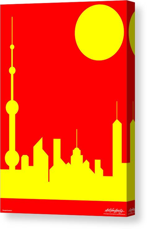 Canvas Print featuring the digital art Shanghai Sunshine by Asbjorn Lonvig