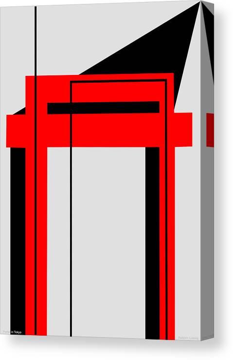 Temple Canvas Print featuring the digital art Temple Portal Tokyo Japan by Asbjorn Lonvig