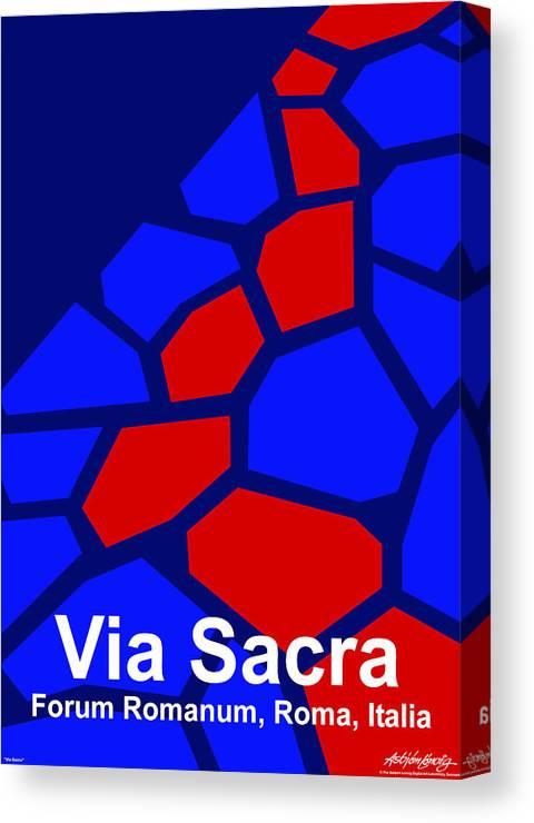 Via Sacra Canvas Print featuring the digital art Via Sacra - Text by Asbjorn lonvig
