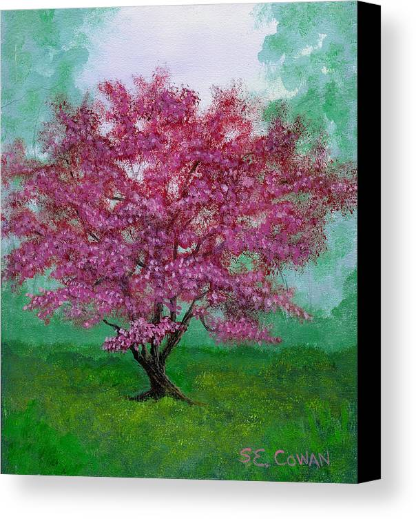 Landscape Canvas Print featuring the painting Crabapple by SueEllen Cowan