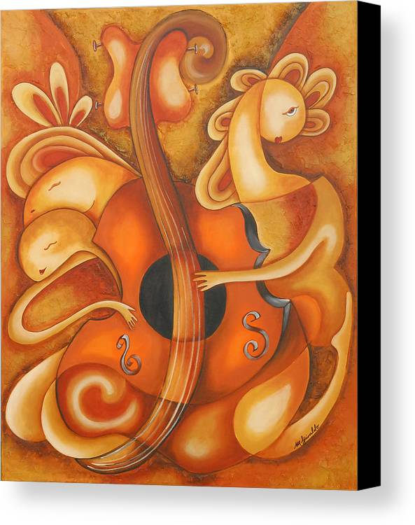 Abstract Expressionism Canvas Print featuring the painting Your Music My Inspiration by Marta Giraldo
