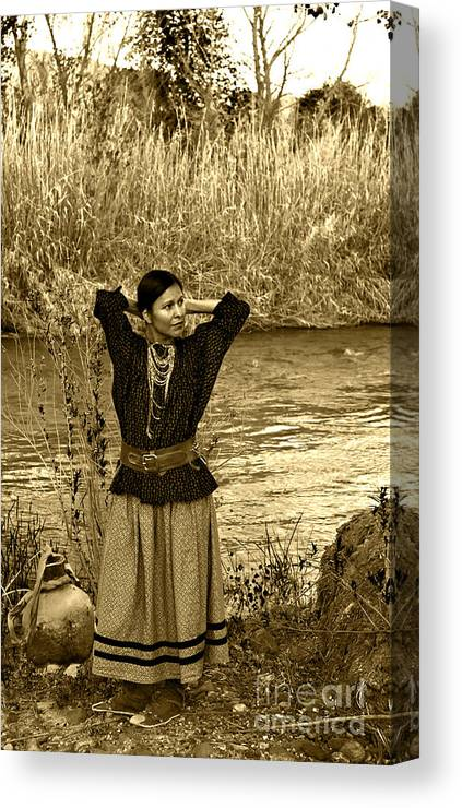 Apache Canvas Print featuring the photograph Apache River Maiden by Jean Hildebrant