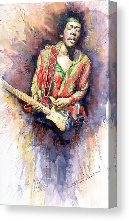 Watercolor Canvas Print featuring the painting Jimi Hendrix 09 by Yuriy Shevchuk