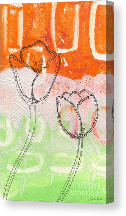 Abstract Canvas Print featuring the mixed media Tulips by Linda Woods
