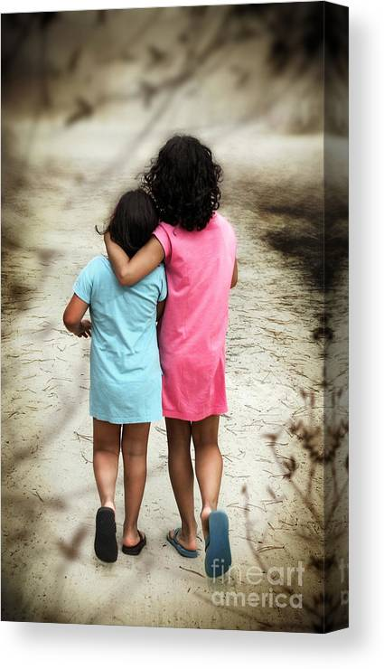 Abandoned Canvas Print featuring the photograph Walking Girls by Carlos Caetano