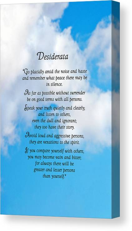 Desiderata Canvas Print featuring the photograph Wisdom From Above by Donna Proctor