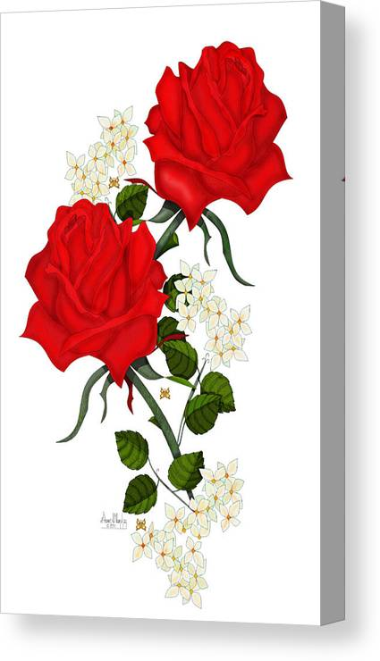 Red Roses Canvas Print featuring the painting Love is Like a Red Red Rose by Anne Norskog