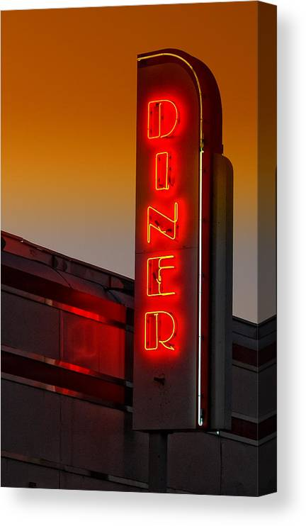 Diner Canvas Print featuring the photograph Twilight Diner by Brian Mollenkopf