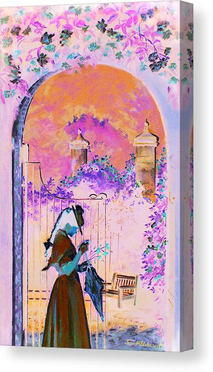 Rose Canvas Print featuring the painting Afternoon Stroll by Jean Hildebrant